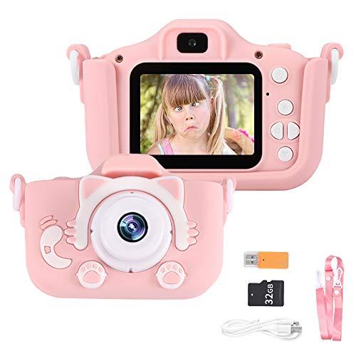 """Powstro Cámara para Niños Cámara Digitale Selfie para Niños de Tarjeta 32GB, 2.0"""" HD Camara de Doble Lente 8MP/1080p, Ideales para niños de 3 a 12 años,Cámara para Niña, Rosa"""