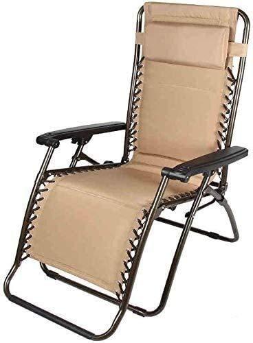 FTFTO Office Life Camping Chaise Longue Sillas de Cubierta de Gravedad Cero con cojín Silla de jardín Plegable reclinable marrón
