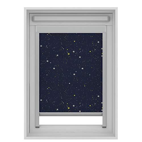 Store occultant compatible avec les fenêtres de toit Velux (bleu avec étoiles, U04/804/7)