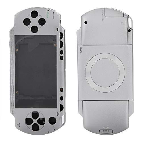 ASHATA Reemplazo de Cubierta Completa de la Carcasa para la Consola de Juegos Sony PSP 1000, Protección Fuerte Cáscara Antideslizante con Kit de Botones (Plata)