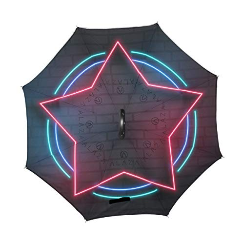 SUSINO Star Neon Light Reverse Inverted Umbrella Graphic Large Double Layer with C-Shaped Handle UV Protection Upside Down Umbrella for Women Men