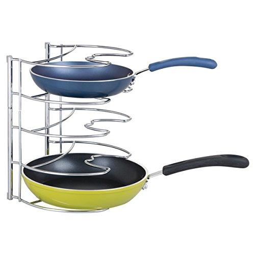 mDesign Organizador de sartenes de hasta 28 cm – Accesorios para muebles de cocina – Estanterías para cocina para organizar sartenes y tapas de ollas – Metal cromado
