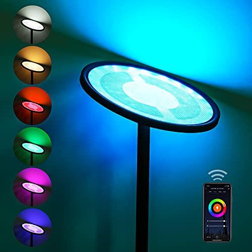 Stehlampe, LED Stehleuchte Dimmbar 25W, Oeegoo WiFi Smart Leselampe Deckenfluter RGB Wohnzimmerlampe, Touch Lampe für Schlafzimmer, Büro Hotel Kompatibel mit APP, Alexa, IFTTT und Google Home(Schwarz)