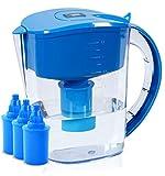 BUKO Cruche d'eau alcaline de 3,5 litres, ioniseur d'eau Pure et Saine, 3 Cartouches de Filtre incluses, BPA de Bande de Test de pH, Eau Propre et Saine de Toxine en Minutes (Bleu)