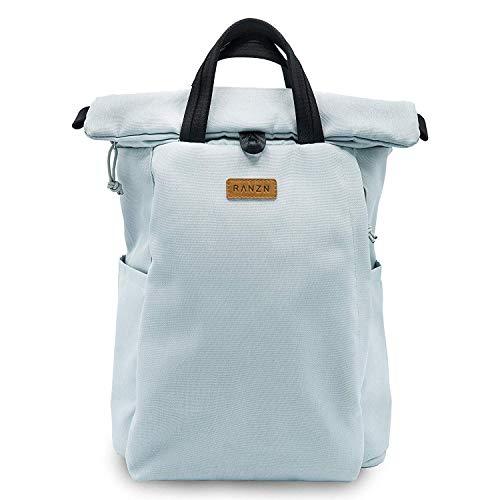 RANZN Rucksack für Damen und Herren. Schlichtes Design - elegant und urban. Rolltop Tagesrucksack mit Laptopfach - grau, 40 cm groß, 20l