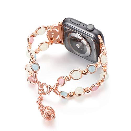 Pulsera de repuesto para iWatch Series 5 4 3 2 1 Correa de perlas luminosa para mujer iWatch Band con colgante de almacenamiento de perfume, oro rosa, 4244 mm
