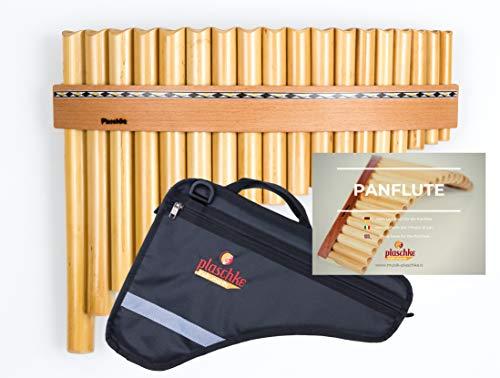 Panflöte aus Bambus mit 18 Töne-Rohre in C-Dur mit Holzriemen-Design im SET mit TASCHE und LEHRBUCH, handgemacht, handmade von Plaschke Instruments aus Südtirol/Italien