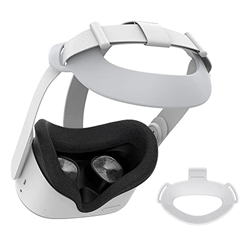 KIWI design Headset Strap Pad for Oculus Quest 2 VR Headset, Replacement for Elite Strap(White)