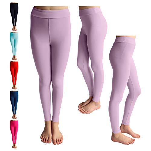 POPINJAY Premium Soft Girls Leggings - Best High Waist Ankle Length 4-Way Stretch Legging for Toddlers and Big Kids (Lavender, 8)