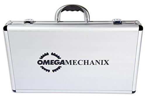 Omega Mechanix M0105 dopsleutelset en gereedschap in aluminium behuizing, 1/4-1/2-inch aandrijving