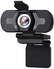 HKBTCH Webcam 1080p HD videokamera PC laptop kamera med webbkamera, USB 2.0 obemannad enhet webbkamera med mikrofon, bilofokus, 360 graders rotation för videosamtal, konferenser, YouTube