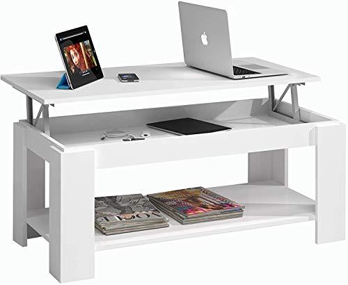 Mesa de Centro con revistero Blanco Artik para Mesa de Centro Mueble de salón, tamaño: 102 cm (Largo) x 43/54 cm (Alto) x 50 cm (Fondo)
