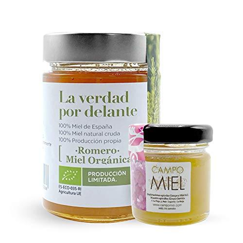 Miel BIO de Romarin 450gr. | Miel Bio d'Espagne 100% Naturel, Organique, Frais et Cru | Miel avec certification biologique | Miel cru, extraction à froid, issu d'une production 100% biologique