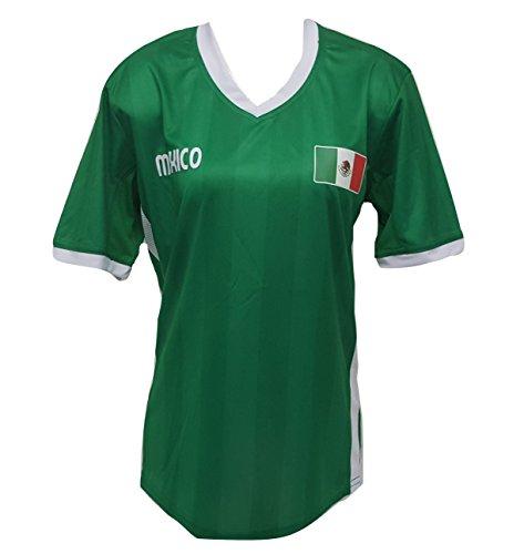 Arza Sports Womens Plus Size Mexico Soccer Green Jersey V-Neck T Shirt S,M,L,XL,XXL (M+)