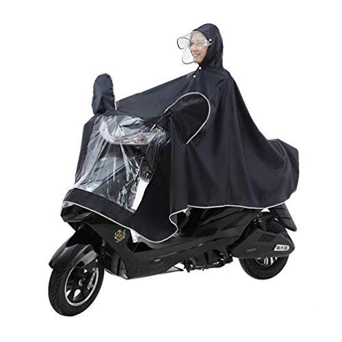 LULUDP Chubasqueros Moto impermeable poncho Alargado con reflexivo de Gaza for la conducción segura de doble sombrero de ala desmontable siamés del impermeable Scooter eléctrico de la motocicl