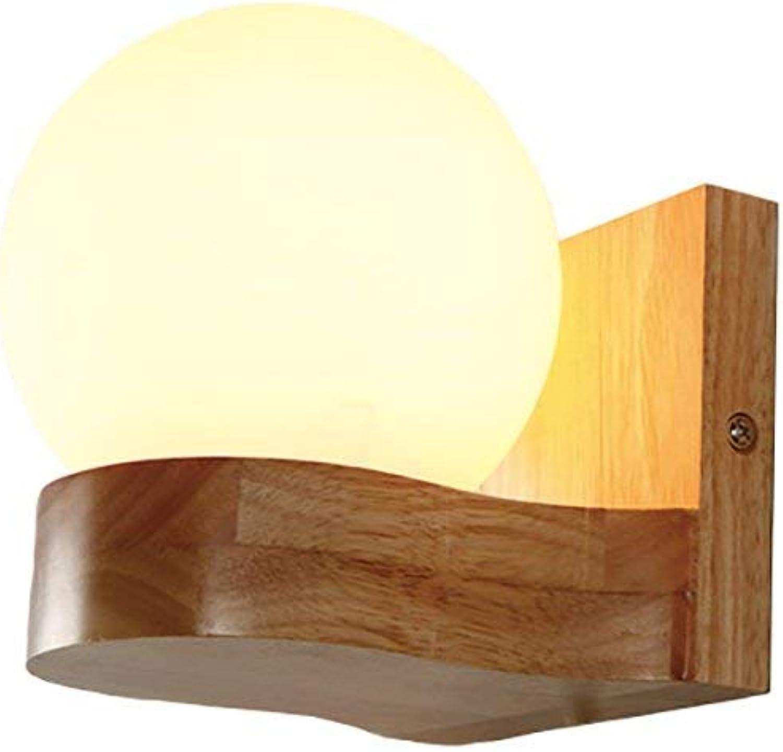 BAIJJ Wandleuchten Kreative Wandleuchte, Massivholz Wandleuchten Led Schlafzimmer Nachttischlampe Wohnzimmer Dekorative Leuchten Doppelkopf Flurleuchten, E27 Dekorative Wandleuchten (Farbe  Einkop