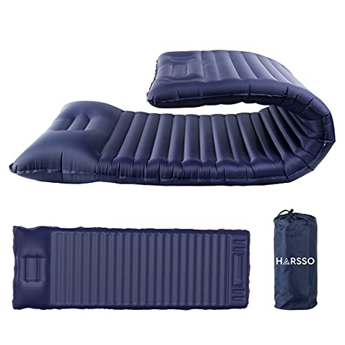 Harsso Esterilla Autoinflable Camping, Colchoneta Inflable Senderismo, Colchonetas para Dormir Ultraligera Tienda Campaña, Esterilla Hinchable Aislante Acampada Viajes Montaña(Azul Real)