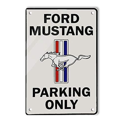 Oddss Retro Shop Zeichen, Vintage Ford Mustang Parking Only Sign Lightweight Aluminum Wall Art Decor Funny Poster Gifts Sign for Garage Home House Bathroom Men Cave Movie Coffee Bar, 8X12 Inch