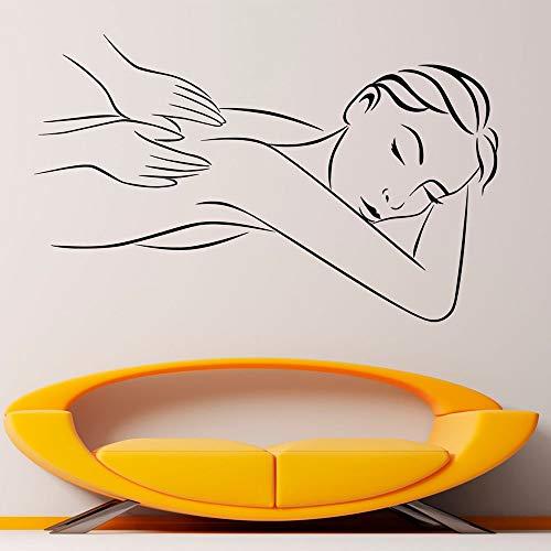 HGFDHG Masaje Pared Vinilo calcomanía Mujer Cuerpo SPA habitación salón de Belleza Interior Art Deco Puerta Ventana Vinilo Pegatina Chica relajación Mural