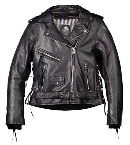 IGUANA CUSTOM - Chaqueta de moto de piel para mujer de estilo rockero CRUZADA de cuero de primera calidad, corte femenino, con protecciones y forro térmico desmontable. (S)