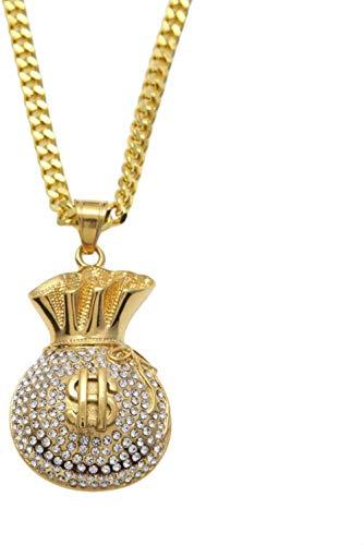 NC122 Anhänger Halskette Schmuck Street Dance Accessoires Edelstahl schwere Arbeit Exquisite Hip Hop Diamant Tasche Geld Geschenk