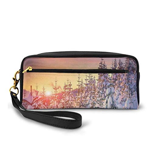 Pencil Case Pen Bag Pouch Stationary,Snowy Landscape at Gloomy Sunrise Light in Mountain Forest Serene Photo,Small Makeup Bag Coin Purse