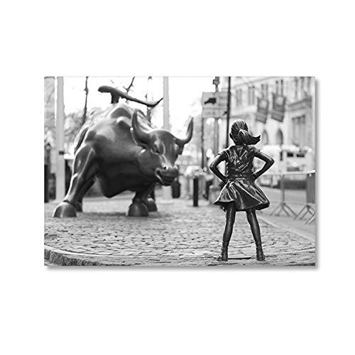 HYFBH Leinwanddrucke Furchtloses Mädchen Statue Schwarz-Weiß-Poster New York Feministisches Mädchen Power Art Leinwand Malerei Wanddekoration 30x40cm (11,8