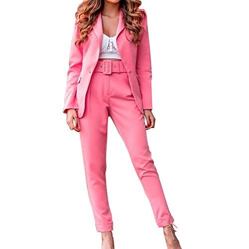 Donna Tailleur Pantalone,Completo Blazer a Maniche Lunghe+Pantaloni con Cintura,Ufficio Elegante Giacche da Abito in Due Pezzi,Slim Fit Set da Tailleur con Pantaloni per Matrimoni e Feste Rosa L