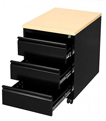 Profi Stahl Büro Rollcontainer komplett montiert und verschweißt Bürocontainer schwarz/Ahorn Dekor 505302 Maße: 620 x 460 x 600 mm