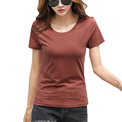 Camiseta de Manga Corta de algodón Camisa de Media Manga con Cuello Redondo y Cuello Redondo Holgado de Verano para Mujer