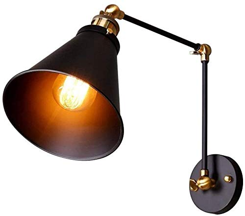 Aplique de pared vintage Luces de pared industriales de metal retro Ángulo ajustable Lámpara de pared negra de brazo largo Negro A
