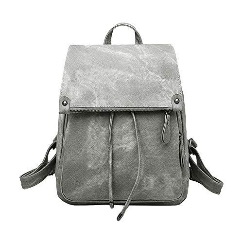 Ehpow Damen Rucksack Mädchen Schultasche Wasserdicht Diebstahlschutz PU-Leder Wildleder Umhängetasche Reiserucksack (Grau)