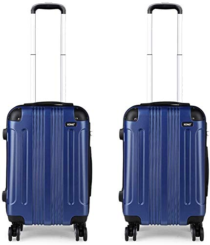 Kono Luggage Set of 2 Hard ABS Suitcase Lightweight Carry-on Travel Trolley with Four 360° Wheels (Navy Set)