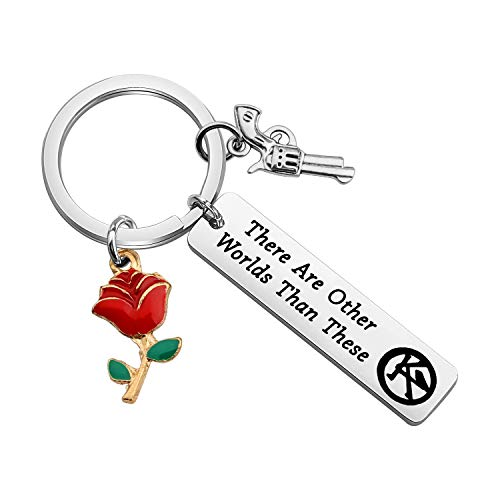 Lywjyb Birdgot Dark Tower Inspired Gift Stephen King Gift Gunslinger Gift Book Lover Gift Book Worm Gift for Dark Tower Fan There are Other Worlds Than These Keychain (There are Other Worlds ky)