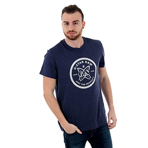 Camiseta G-Star Hombre Azul GS Surf Regular R T SS Shade HTR