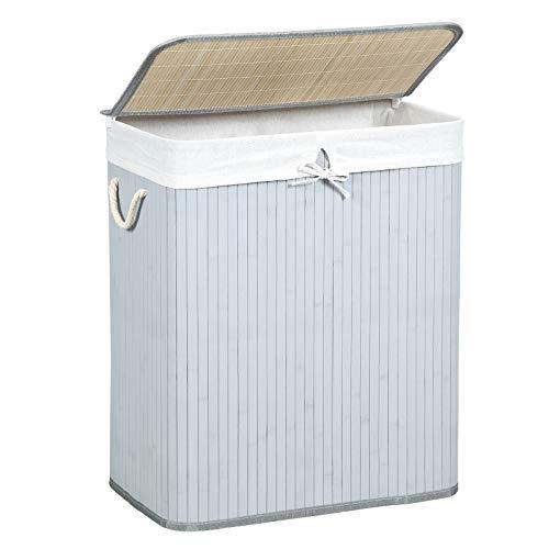 SONGMICS Wäschekorb 100 L, Wäschesammler aus Bambus, Wäschetruhe mit Griffen, Deckel mit Clips, faltbar, Wäschesack herausnehmbar, reines Grau LCB71GY