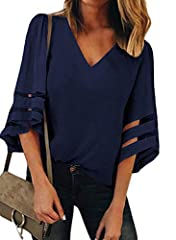 Women Chiffon Blouse is Lightweight, Relaxed and Comfortable to Wear Feature: 3/4 Bell Sleeve, V Neck, Sheer Patchwork detail, Loose Fit Solid Color design Style: Flowy, Stretchy, Fashion. Fit Occasion: Casual/Beach/Party Perfect with Jeans, Leggings...