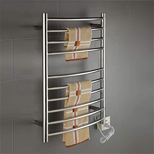 Toallero Eléctrico Calentador de toallas, Riel de toallas con calefacción eléctrica, Calentador de toallas Montado en la pared 90W Radiador Radiador Ahorro de energía con 10 barras calefactoras Acceso