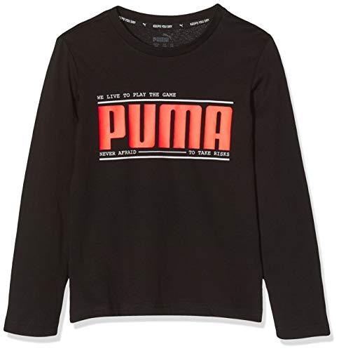 PUMA Jungen Active Sports Longsleeve Tee B T-shirt, Black, 110