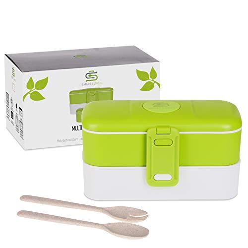 SMART LUNCH Bento Box | Auslaufsicher und Dicht | Lunchbox in Grün 3 Fächer mit Besteck Bpa Frei Mikrowellengeeignet für Kinder und Erwachsene