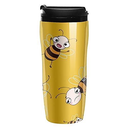 Botella de agua con lindo dibujos animados abejas viaje tazas de café tazas con tapa