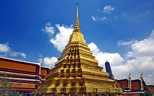 Q&K Art Puzzles for Adults 1000 Pieces Wooden Collection Classic Gift for Family - Wat Phra Kaew, Bangkok, Thailand