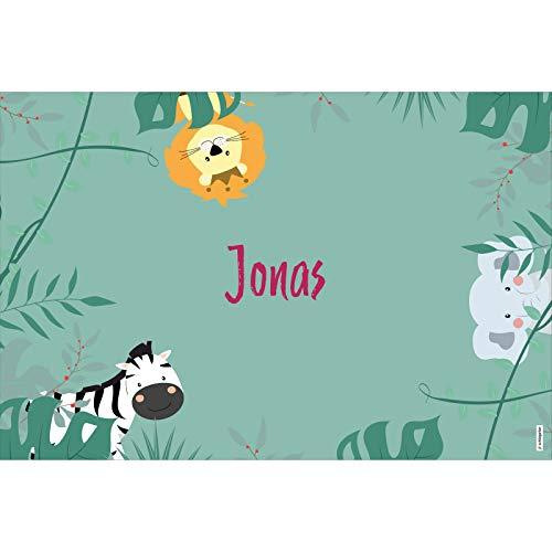 schildgetier Jonas Türschild Namensschild Jonas Geschenk mit Namen und süßen Dschungel Tier Motiven 30 x 20 cm Dekoschild Schild mit Tieren