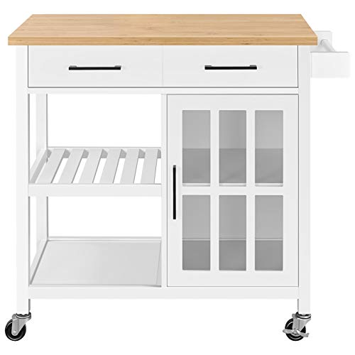Yaheetech Rolling Kitchen Island with 2 Drawers and Storage Cabinet, Kitchen Cart with Bamboo Countertop & Open Shelves & Towel Bar, White