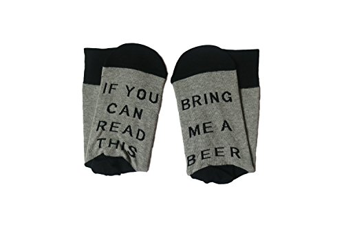 Unisex Christmas Cotton Socks If You Can Read This Bring Me A Beer Socks (One Size, Black)-Knit-in Word, not Printed