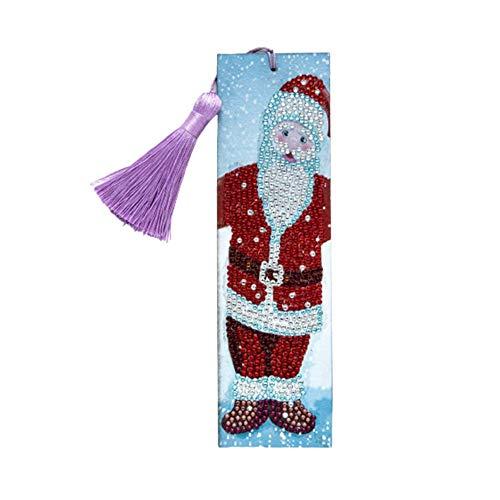 5D DIY Papá Noel Pintura Diamante Marcador Pintura Diamante Arte Bordado Punto de Cruz Borla de Cuero Marcas de Libro para el Día de la Madre Cumpleaños Navidad Manualidades Regalos