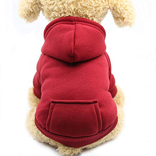 Fashion Focus On New Winter Dog Hoodie Sweatshirts with Pockets Cotton Warm Dog Clothes for Small Dogs Chihuahua Coat Clothing Puppy Cat Custume (Wine red, XX-Small)