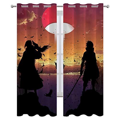SSKJTC Moderna cortina de tela para sala de estar, decoración de anime Naruto Luchando Chic para dormitorio o sala de estar, 55 x 63 pulgadas