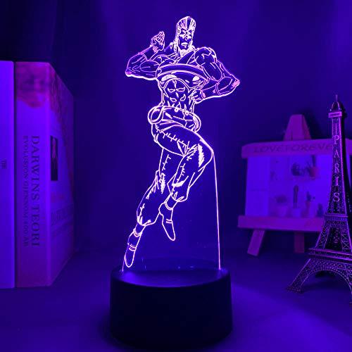 MBFT Jojo Bizarre Aventura 3D Luz Anime para Dormitorio Decoración Luz de Regalo Manga Jojo Lámpara de Noche Jean Pierre Polnareff 3D Anime Luz nocturna