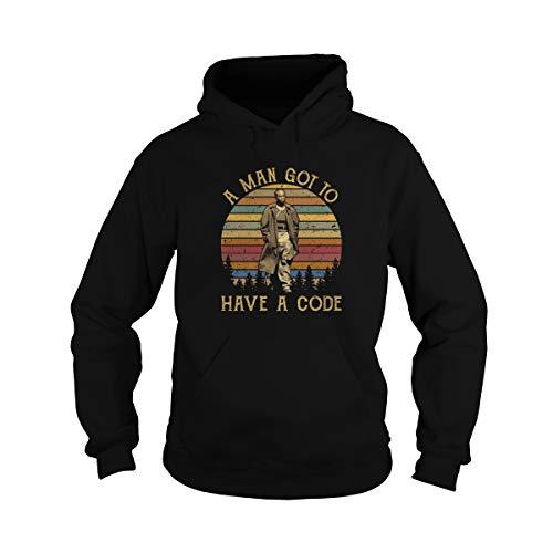 Uzubunki Unisex A Man Got to Have A Code Vintage Adult Hooded Sweatshirt (Black, 3XL)